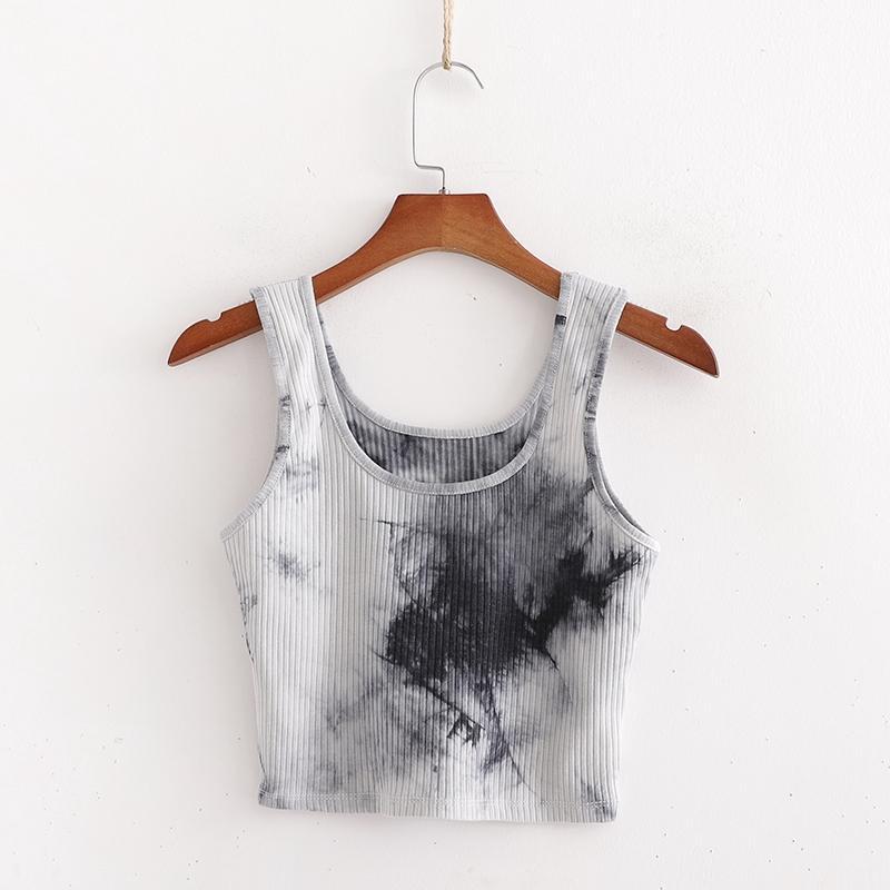 Mulheres Verão Tanque Knit tops sem mangas Impresso Vest básica Camis Top de alças XD3029