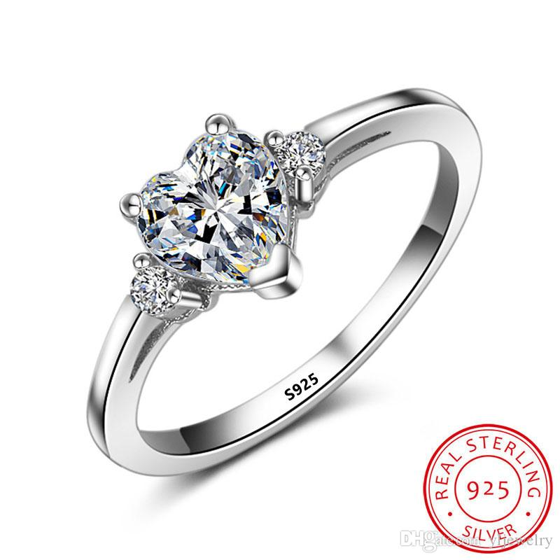 Original Real 925 Sterling Silver Heart Diamond Promise Wedding Band Rings for Women Bridal Engagement Jewelry Party Trendy Romantic XR006