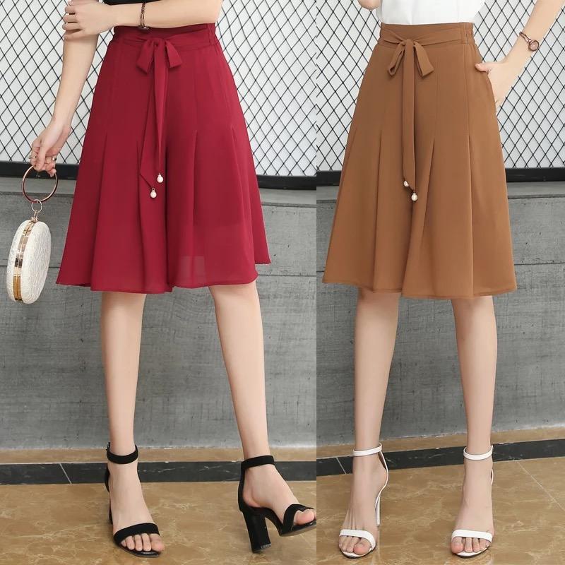 Faltenrock Sommer Frau Shorts Rock plus Größe Frau Minichiffonrock hohe Taille atmungsaktiv dünnen Frauen-Schicht-Rocks