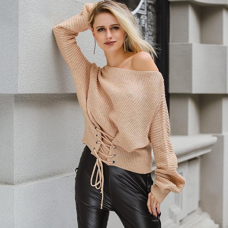 여성 디자이너 스웨터 여성 스웨터 블랙 레이스 업 풀오버 스웨터 여성 탄성 점퍼 캐주얼 가을 겨울 니트 풀오버