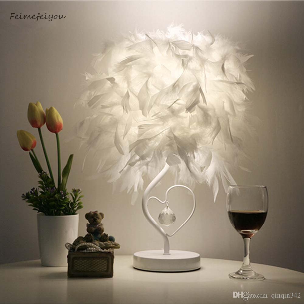 EU 플러그 미국 영국 AU 플러그 작은 크기와 Feimefeiyou 침대 옆 독서실 시팅 룸 심장 모양의 깃털 크리스탈 테이블 램프 빛