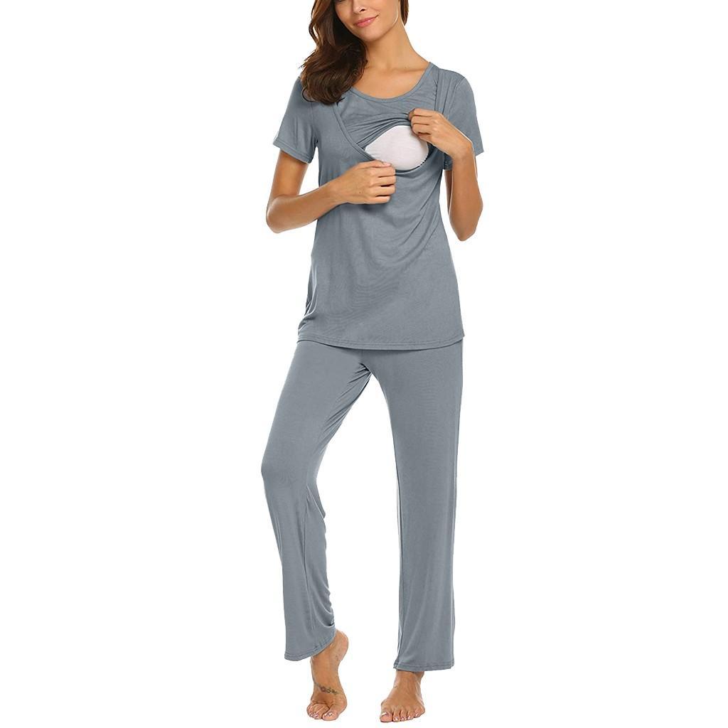 Hamile Gecelik Pijama Pijama Yeni hamile kadınlar Hamile Pijama Takımı Kısa Kollu Hemşirelik Bebek tişört Tops + Çizgili Pantolon