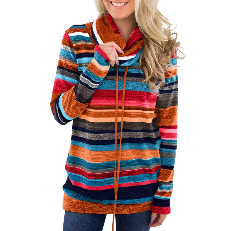 Turtleneck Sweater Women Autumn Winter Long Sleeve Sweater Striped Multicolor Casual Pullover Lace Up Knitted Tunic