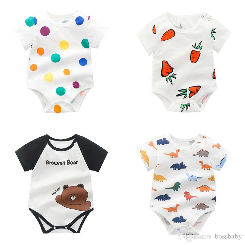 BONLOR I Heart Strawberries Baby Boys Girls Jumpsuits Short Sleeve Romper Bodysuit Bodysuit Jumpsuit Outfits White