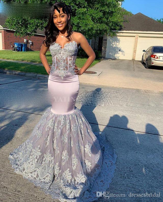 Vintage Lace Silver Grey Mermaid Prom Dresses Black Girls Long Graduation Gowns Plus Size African Formal Dress 2020 Elegant