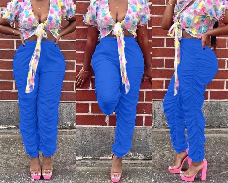 Roupa Moda cor sólida plissadas Casual Calças soltas cintura elástica Calças Vestuário Feminino Primavera-Verão Womens