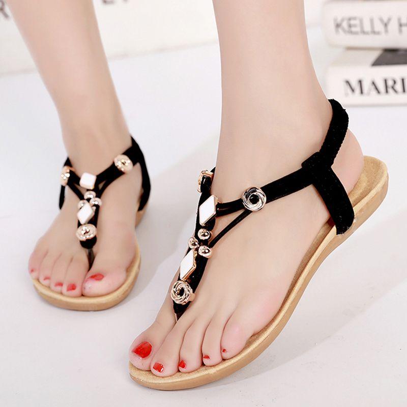 Compre LAKESHI Sandalias Para Mujer 2019 Nuevo Pisos Sandalias Mujer Verano Mujer Zapatos Estilo Bohemia Chanclas Zapatillas De Playa Zapatillas De