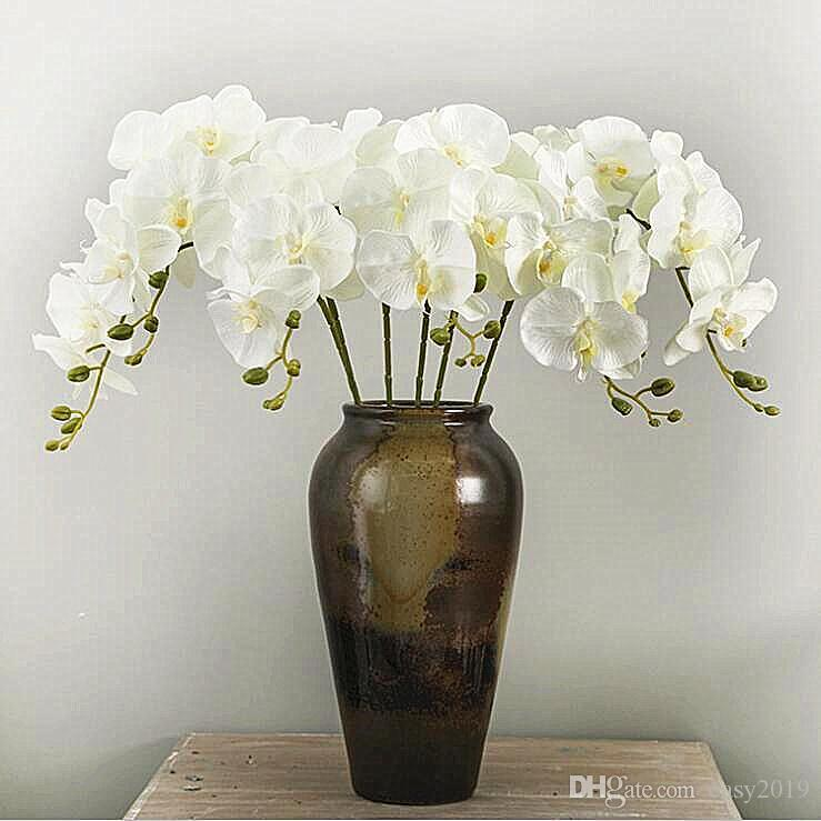 100Pcs / lot realistica farfalla artificiale orchidea Phalaenopsis fiore di seta casa di cerimonia nuziale della decorazione di DIY Fake Flowers trasporto libero