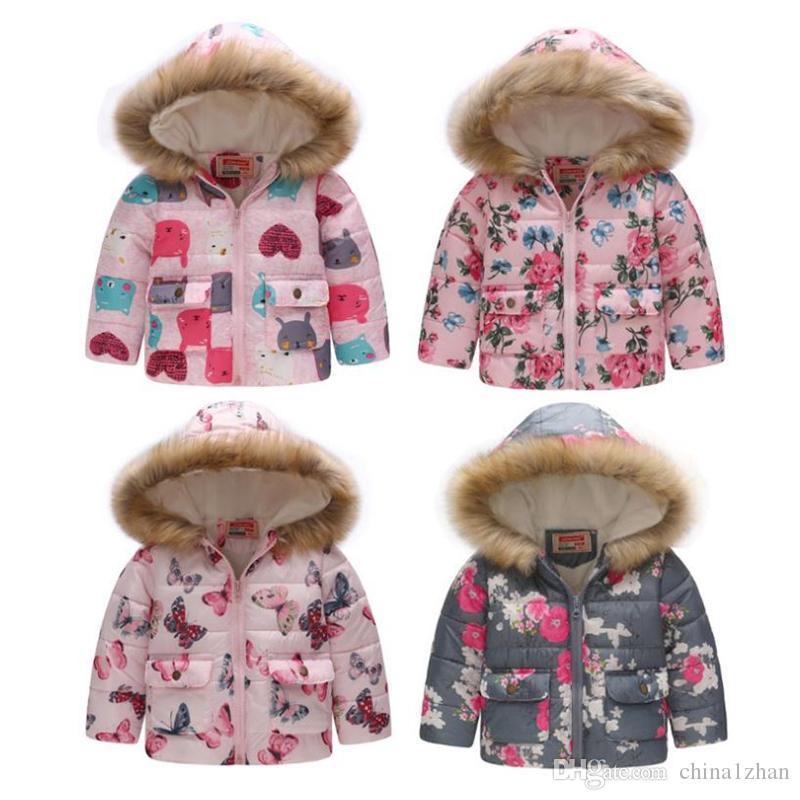 Baby Girl Coats Printed Kleinkind-Mädchen Baumwolljacke verdicken Kinder mit Kapuze Mantel-Pelz-Kinder Oberbekleidung Winter-Baby-Bekleidung 14 Designs 4831
