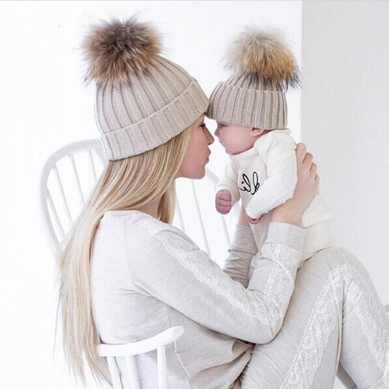 Mom and Baby Matching Knitted Hats Warm Fleece Crochet Beanie Hats Winter Mink PomPom Kids Children Mommy Headwear Hat Caps Y191112