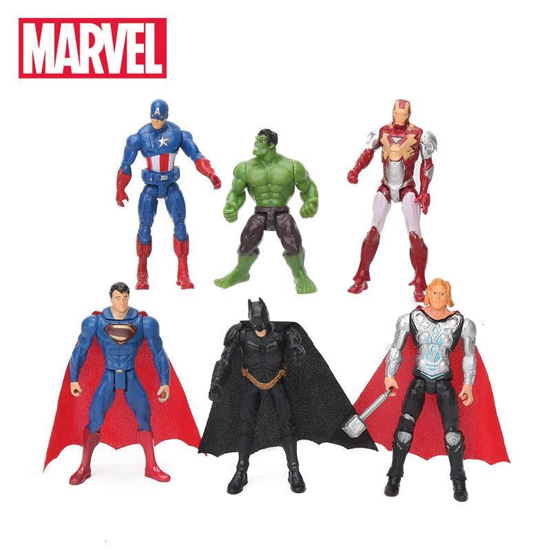 6шт / серия 10.5cm Marvel Мстители игрушки Набор супергерой Бэтмен Тор Халк Капитан Америка Действие Смола Модель Цифры Doll Оптовая
