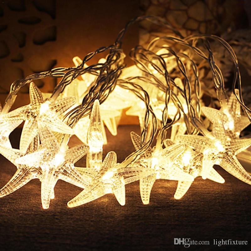 LED Denizyıldızı Dizeleri Işıkları Kapalı Açık Noel Bahçe Dekorasyon Aydınlatma Dize Lambası 3M / 6M