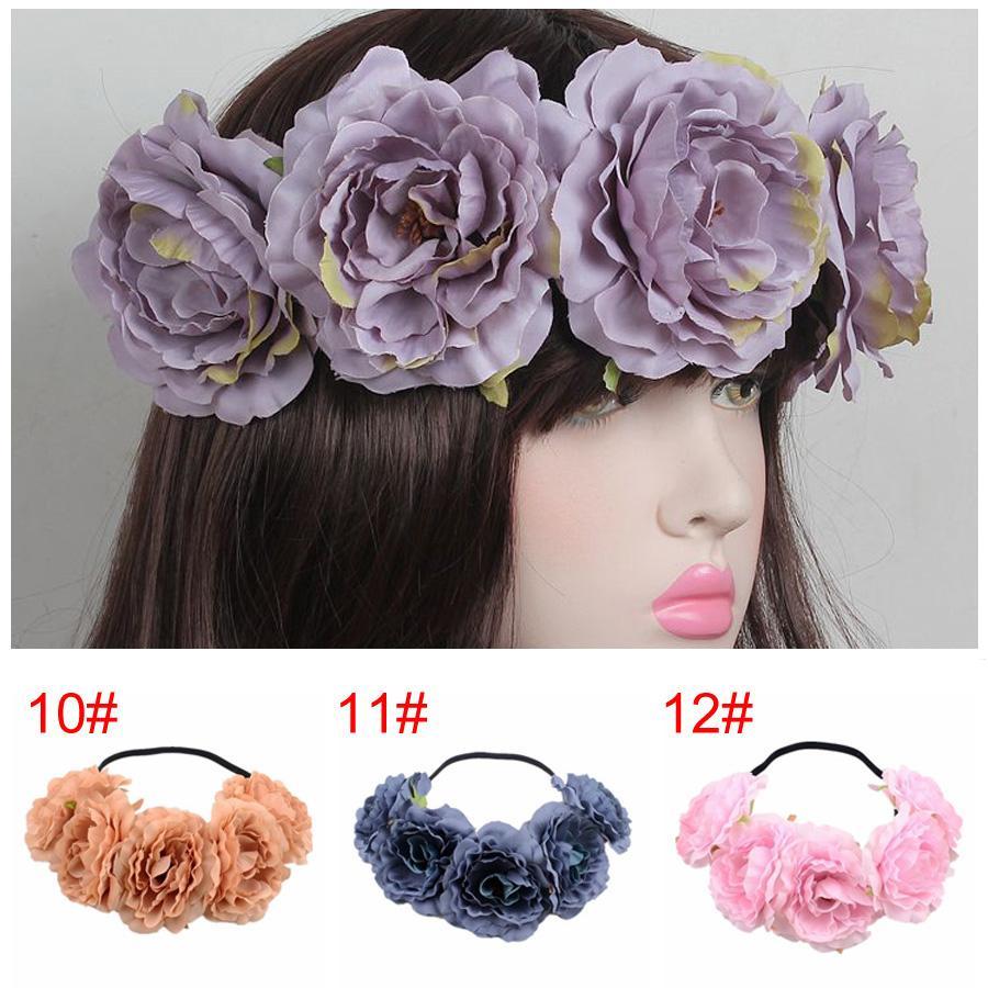Yaz Kadın Gül Kafa Çelenk Saç Yaylar Kafa Kadınlar Bohemya Sahil Çiçek Kafa Taç Düğün Headdress Çelenk BH1088 TQQ
