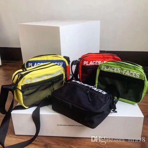 NEW PLACES PLUS FACES 3M 숄더 허리 가방 청록색 마젠타 색 상자 로고 PF 백팩