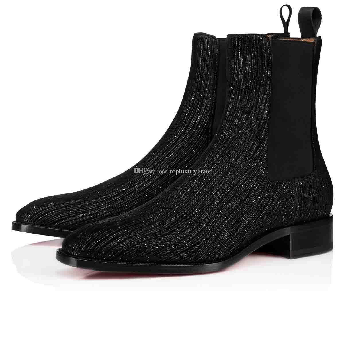 2019 Kış Sonbahar Erkek Çizme Marka Tasarımcılar Kırmızı Alt Ayak bileği Boot Samson Orlato Erkekler Gelinlik Deri Flats Ayakkabı Orta Çizme Süper Elemeleri