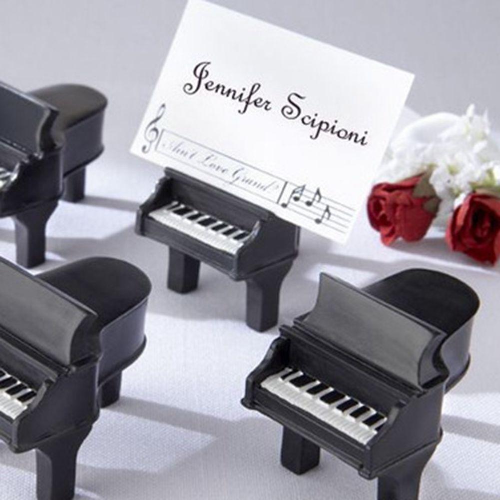 Favor de partido Piano Asiento Clip partido la pieza central del diseño único Mini Piano portatarjetas del lugar del banquete de boda del favor de Negro Piano portatarjetas del lugar