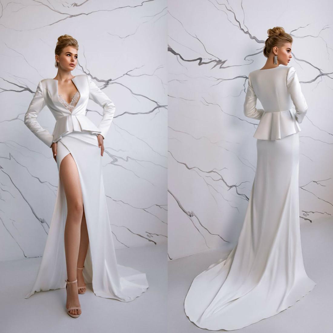 Sexy Eva Lendel Vestidos de novia Cuello en V Mangas largas Lado alto Lado de encaje Satén Vestidos nupciales Saturado Tren de barrido Una línea Vestido de novia Vestidos