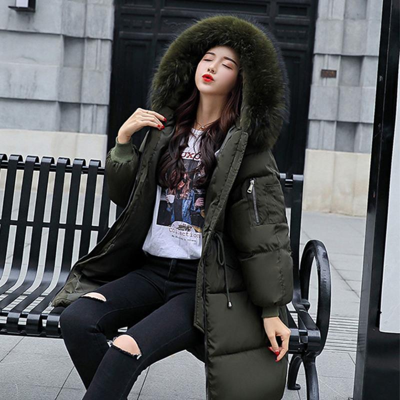 Parkas Kapşonlu Uzun Kollu Fermuar İpli Kalınlaşmış Kadınlar Ceket Katı Diz Boyu Moda Bayan Gevşek Şık Kış Dış Giyim