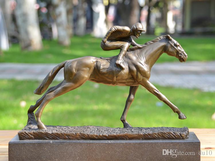 Ornamenti di animali scolpiti in rame Cavaliere di corse di cavalli Artigianato Home Office Gioielli Regalo Bar Club scultura arte Casa