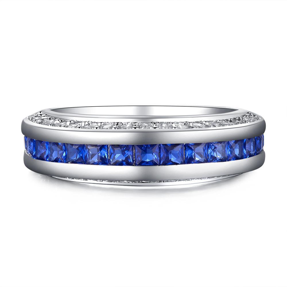 3 행 반짝 큐빅 지르코니아 결혼 반지 고품질 실버 골드 컬러 블루 핑크 CZ 손가락 반지 여성을위한 패션 브랜드 쥬얼리