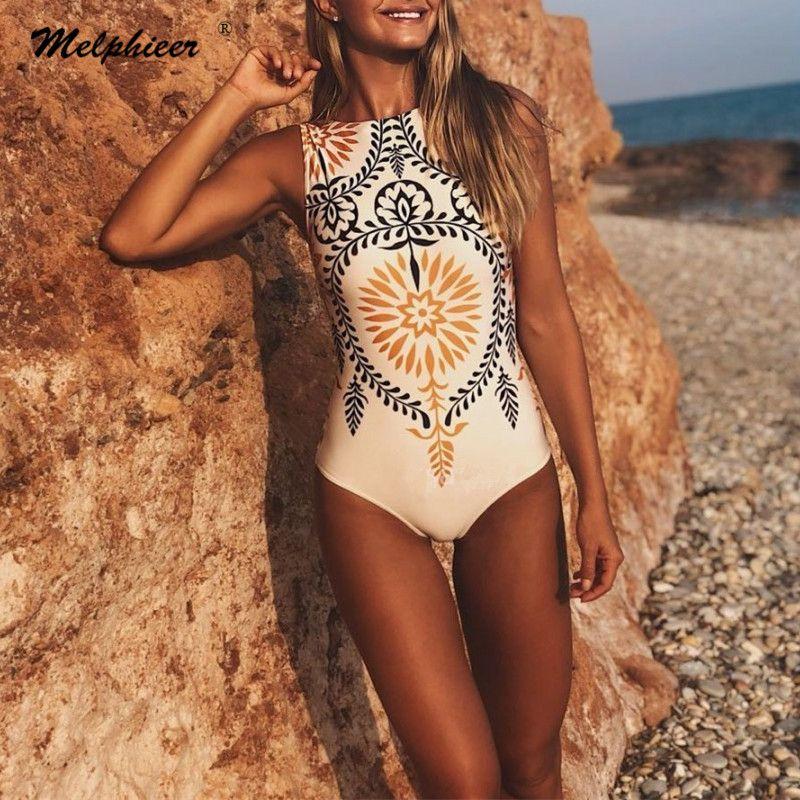 Melphieer Vintage Imprimir Swimwear One Piece Swimsuit Mulheres cintura alta Monokini Swimsuit Esporte Bodysuit Praia Terno Swim