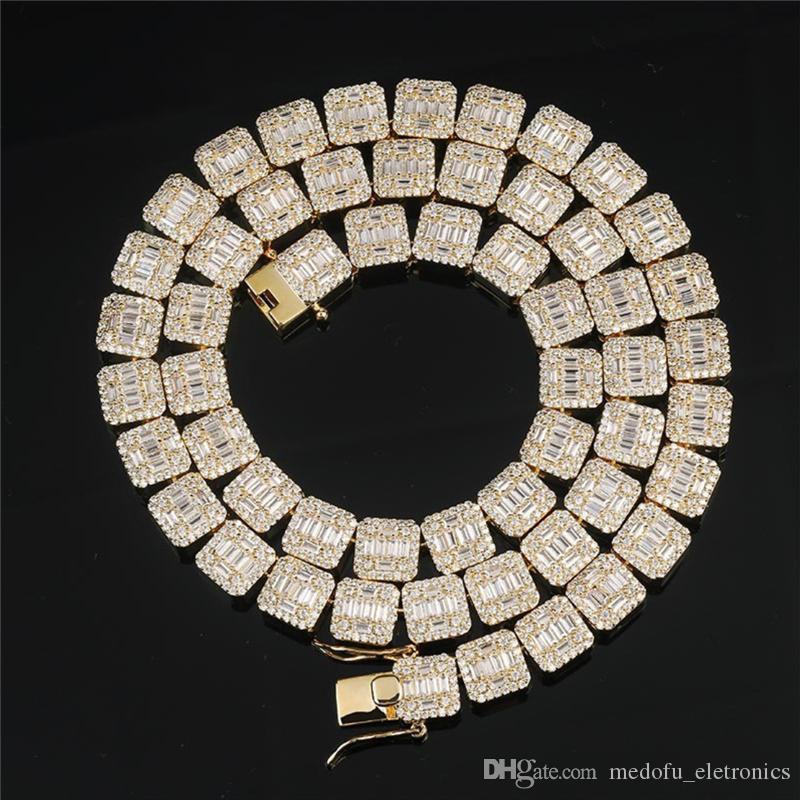 10 mm de Hip Hop Tenis Cadenas Bling collar de cadena de oro de los hombres de hielo fuera Cubic Zirconia joyería de Hiphop del acoplamiento del diamante Collares