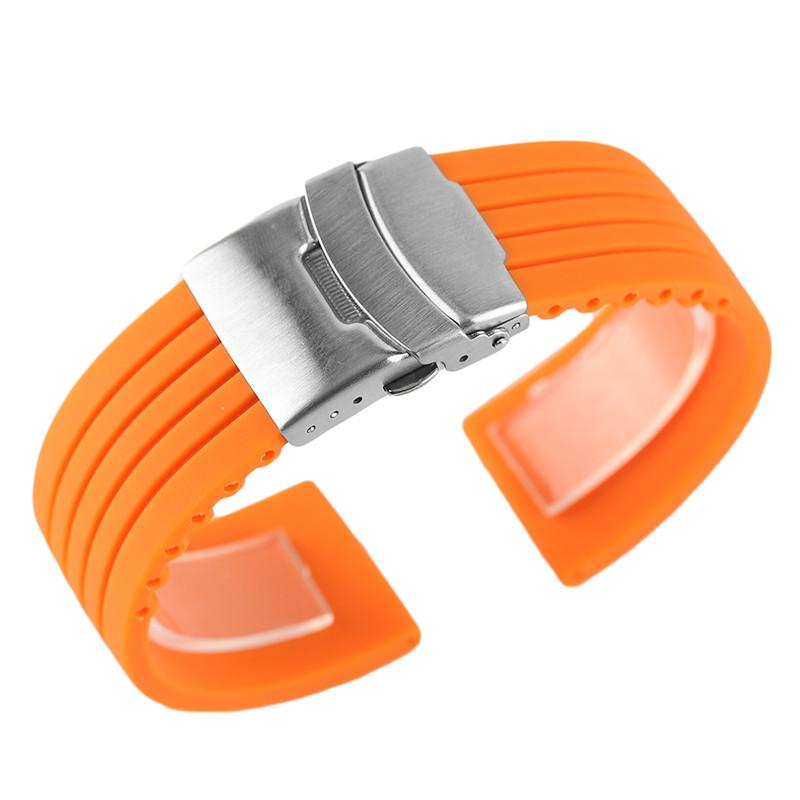 20/22/24mm Rubber Watch Strap Blue Orange Waterproof Silicone Watchbands Fold Clasp Straight Ends Diver Replacement Bracelet