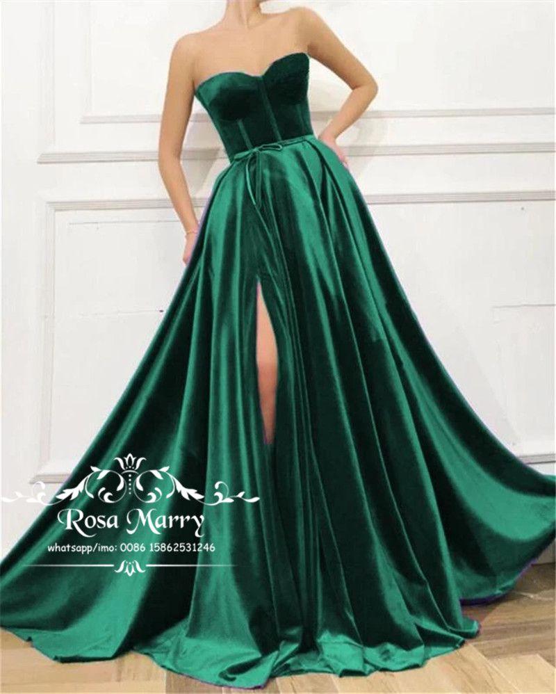 Verde oliva Plus Size Velvet Prom Dresses 2020 A linha Sweetheart alta Dividir baratos longas 2K20 Meninas formal do partido vestidos de noite