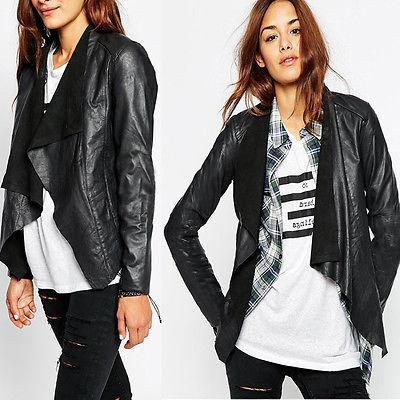 جلدية مثير السيدات ينحل إمرأة السائق الدراجات النارية فو لينة زيبر سترة معطف