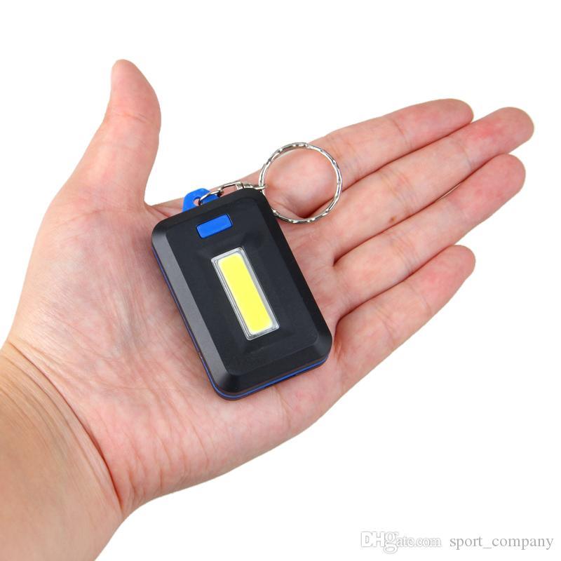 Cadeia Modos Mini COB LED Keychain lanterna 3 Key portátil Chaveiro Flash Light Lamp Torch bolso Luz Emergency Use 3 * AAA