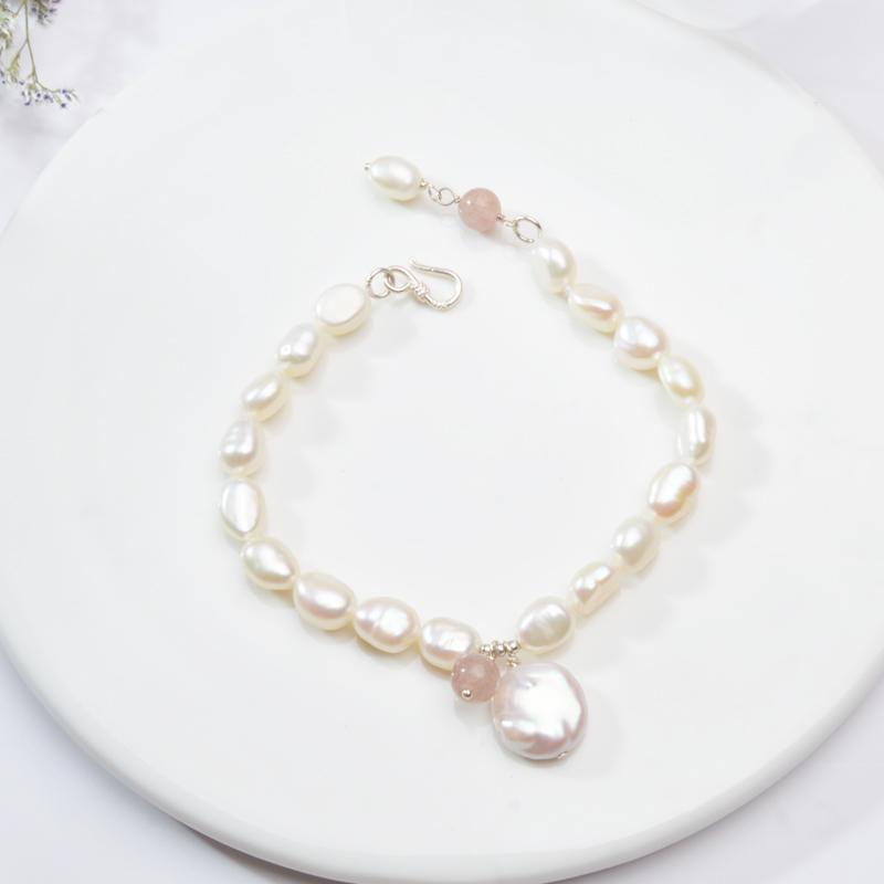 ASHIQI Natural Freshwater Pearl Friendship Bracelets for Women White black Pearl Jewelry with Crystal Beads