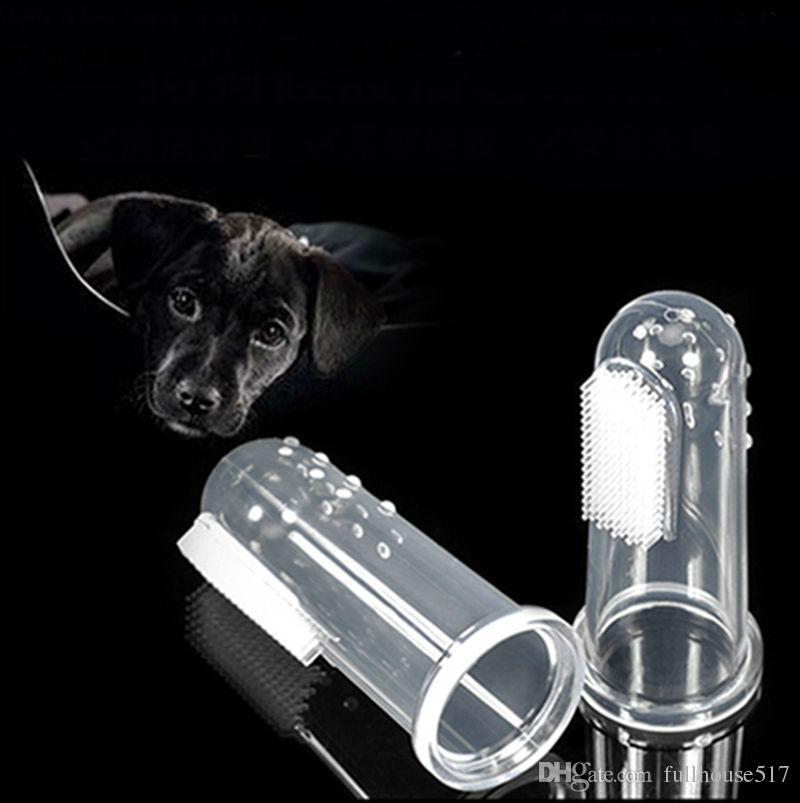 Bebek için köpekler bebek dişleri bakım diş fırçası temizleme fırçası Parmak Diş Fırçası için şeffaf berrak silikon parmak diş fırçası