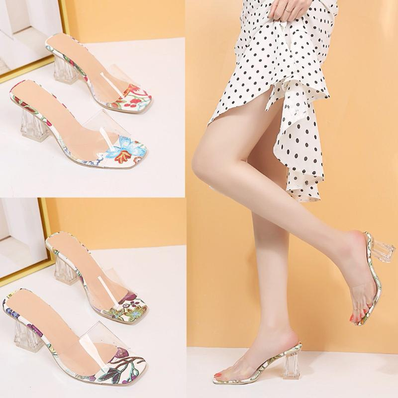 Sandales Floral femme Mode d'été Chaussures-pieds Casual talons hauts Slipper