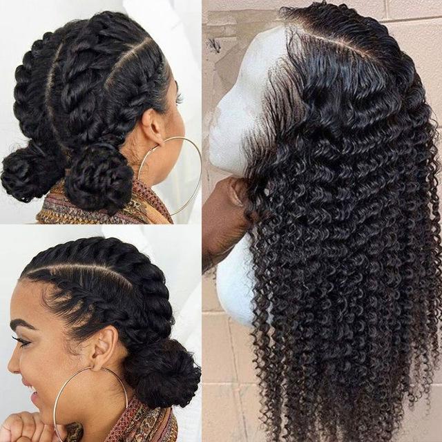 Curly pas cher Glueless pleine dentelle perruques de cheveux humains pour les femmes du Brésil vague profonde Lace Front perruques de cheveux humains