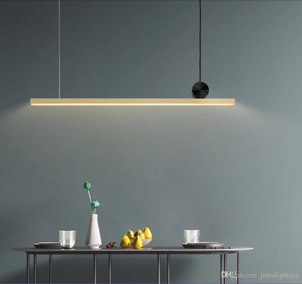 Geometric strip pendant lamps restaurant Nordic post-modern minimalist designer light luxury copper creative pendant light long gold
