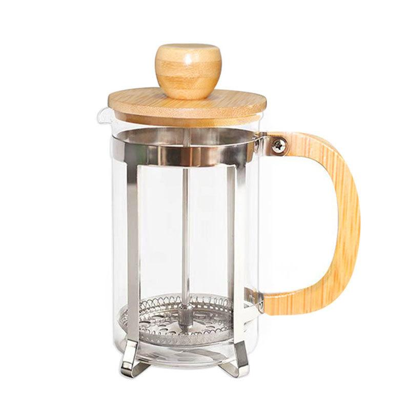 Bule de café de aço inoxidável com tampa de bambu e alça Imprensa francesa Chaleiras de vidro de chá portátil Filtro de chá GGA2630