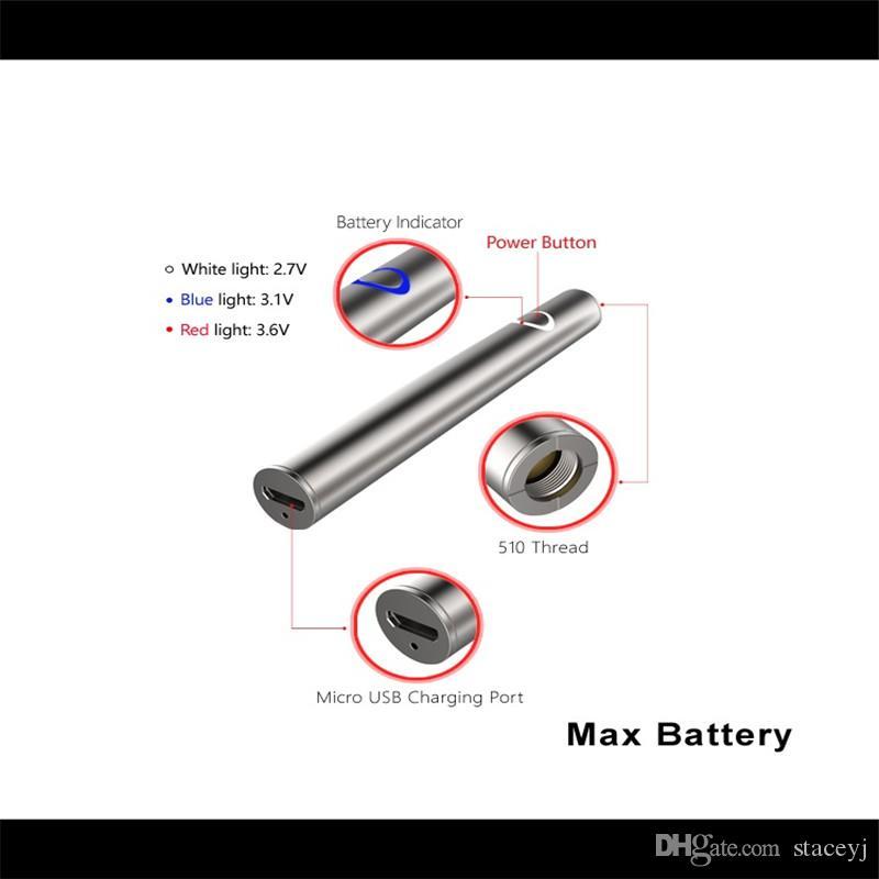 Amigo Max Preriscaldare batteria 380mAh tensione variabile VV Vape Mod Per 510 Thick olio Liberty V9 vaporizzatore cartucce serbatoio