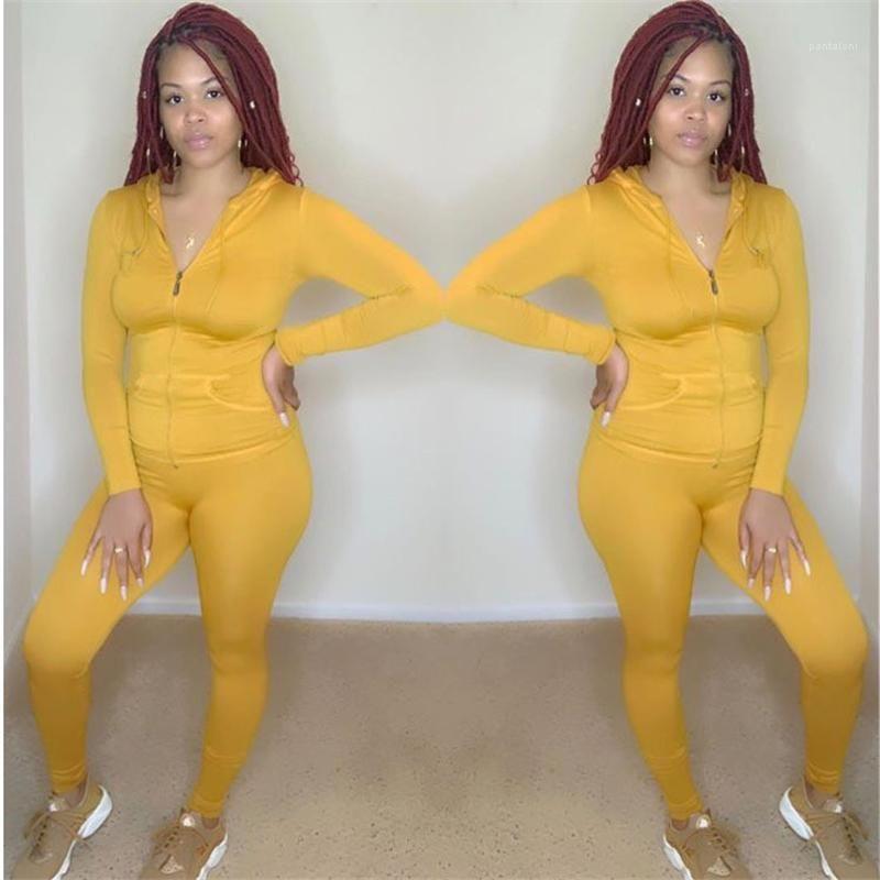 Skinny attivi femminili degli insiemi 2pcs Zipper signore casuali Abiti sportivi con tasche primavera delle donne di colore puro tute con cappuccio