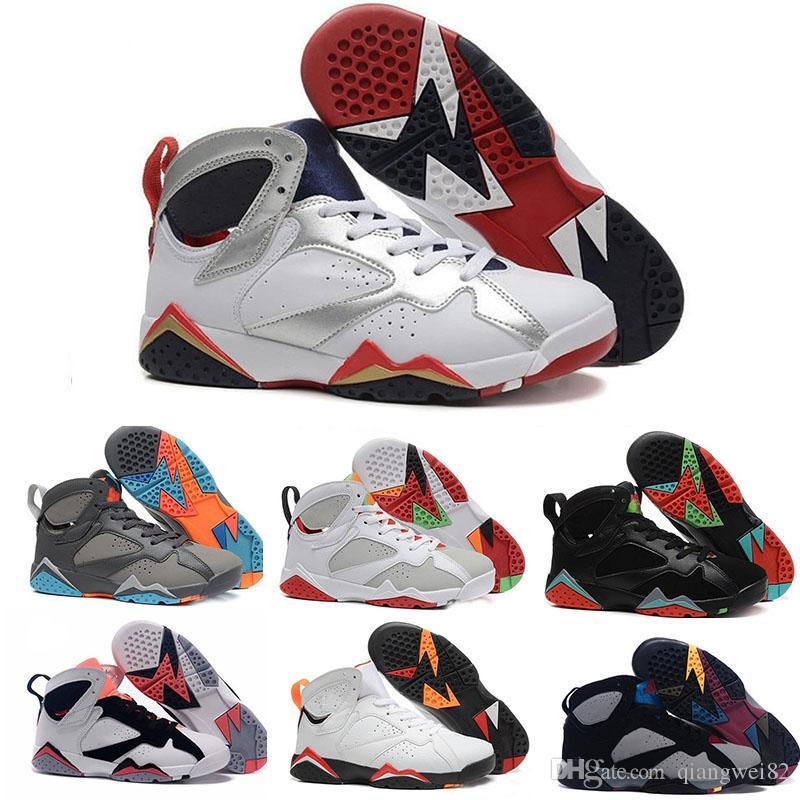 2019 7 7 s Erkek Basketbol Ayakkabıları Beyaz Raptor Bordeaux Hare Bordeaux Sıcak Lava Verde Siyah Kırmızı Eğitmenler Basketbol Ayakkabı Boyutu 13