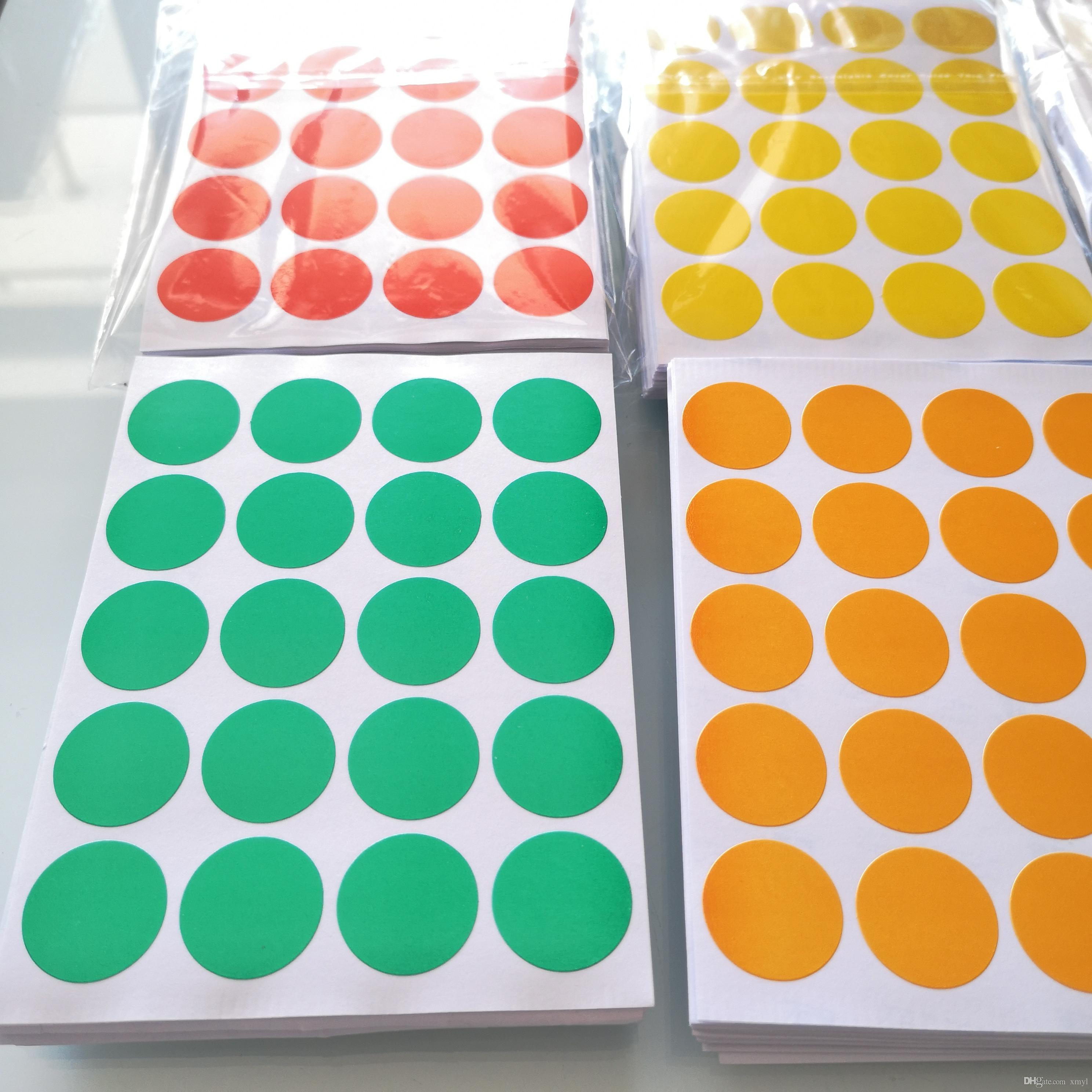 1200 pcs Diameter 20mm Colorful round paper sticker, white/yellow/red/green/blue/orange, Item No.OF23