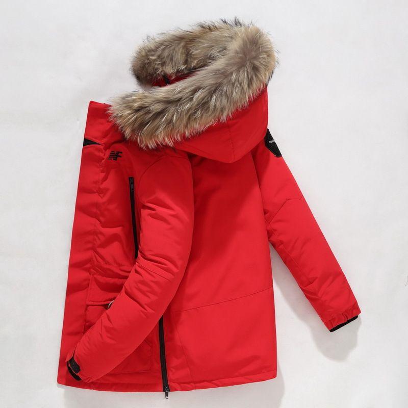 Giacca inverno degli uomini parka giù ricoprono piume d'anatra bianca spessore caldo parka con cappuccio in pelliccia cappotto uomini Windbreaker neve