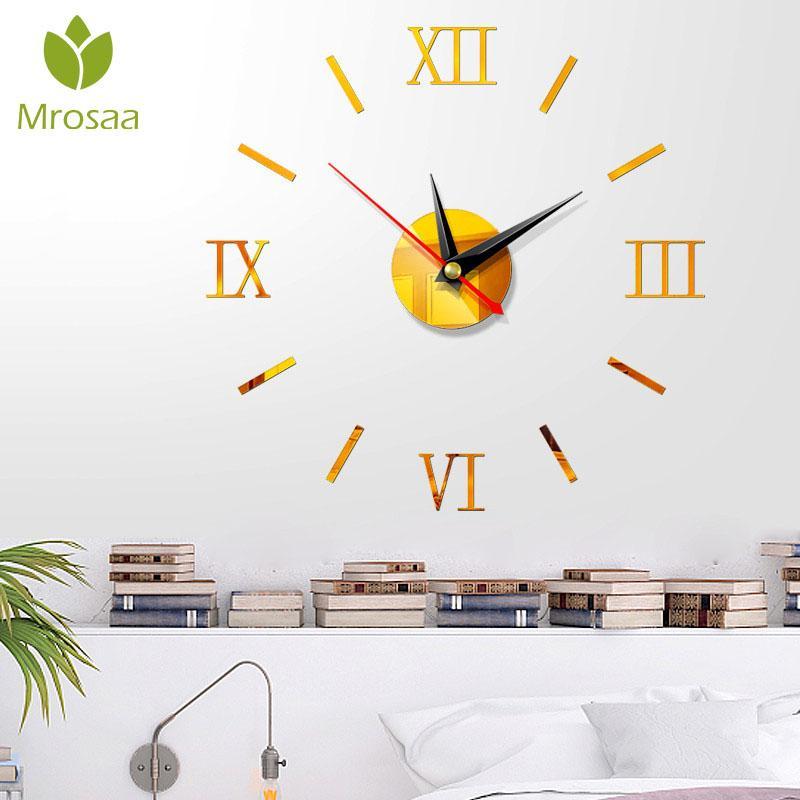 3D DIY Acrylique Miroir Stickers Muraux Personnalisé Numérique Horloges Murales Montre Décor De Mariage Décoration Salons Aiguille À Quartz