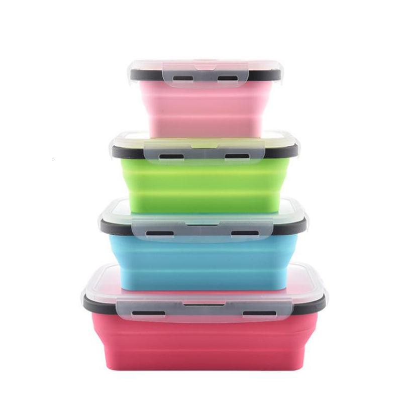 4pcs / Set Pliable silicone Boîte à lunch Aliments Fruit Conteneur Portable Bento Coffre Cuisine Micro-ondes école Lunchbox T191014