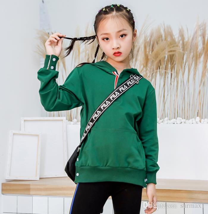 2019 New Girls Sports Slim Joker Sweatshirt Green and Black Two Colors Suitable for Height 110 cm to 160 cm