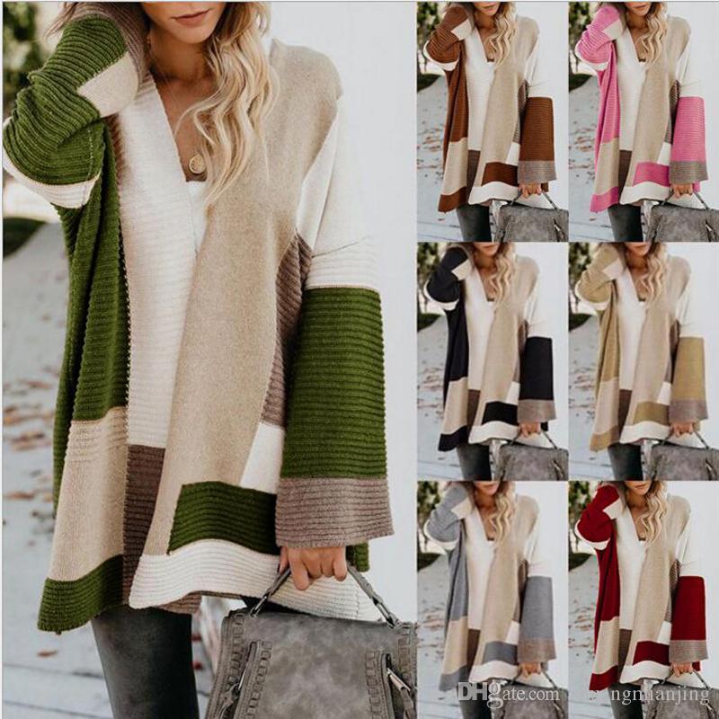2019 otoño invierno moda mujer de manga larga suelta de tejer chaqueta de punto de las mujeres geométrica de concordancia de color de punto Mujer Cardigan