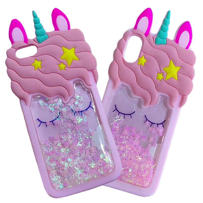 Estrellas Caso de silicona líquida de dibujos animados 3D rosa suave arena movediza unicornio para Iphone 11 11 8 pro Plus 7 6S 6 más 5 XS Max XR X caja del teléfono