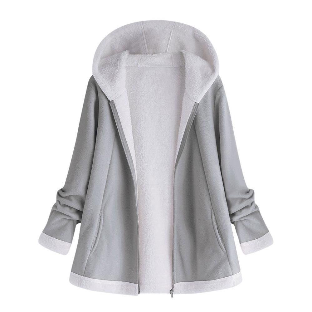 women's autumn jacket Fashion Winter warm solid Pocket Zipper Long Sleeves Plush Hoodie Coat manteau femme plus size 5XL Pink T5190612