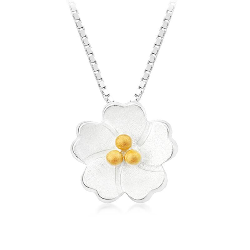Heiße Verkaufs-Großverkauf neue Art und Weise Blumen-Entwurfs-925 Sterlingsilber-Anhänger-Halsketten für Frauen-Schmucksachen Geschenk-Tropfen-Verschiffen