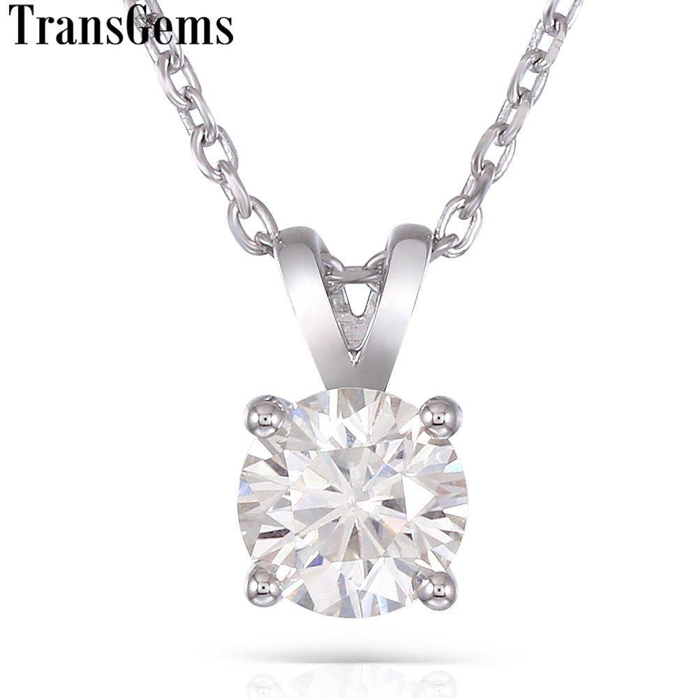 Transgems Platinum Plated Silver 2ct 8mm Gh Color Moissanite Pendant Necklace For Women Wedding Sterling 925 Slide Pendant Y19032201