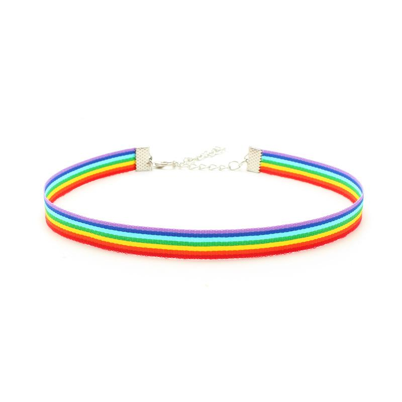 Gay Pride Rainbow Choker Necklace LGBT Gay and Lesbian Pride Lace Chockers Ribbon Collar with Pendant Charm Fashion Jewelry for Men Women